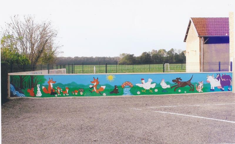 Fresque mur école