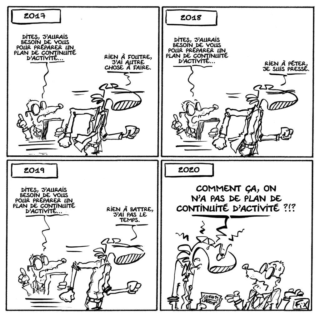 Plan de continuité d'activité dessin humoristique Fix